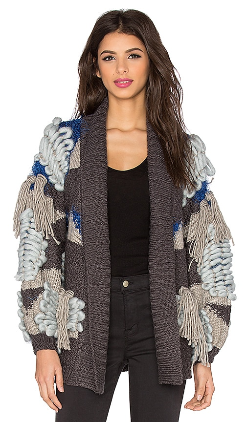 For Love & Lemons Marte Fringe Cardigan in Blue & Grey