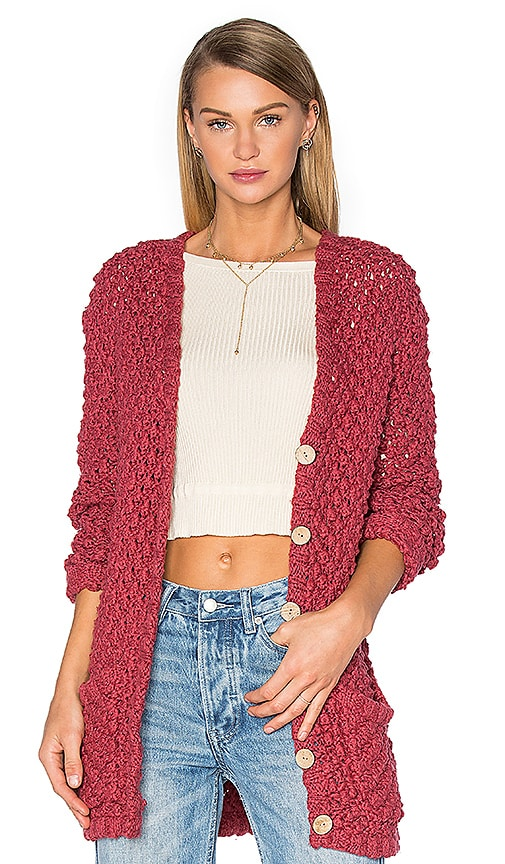 For Love & Lemons KNITZ Mulberry Cardigan in Red