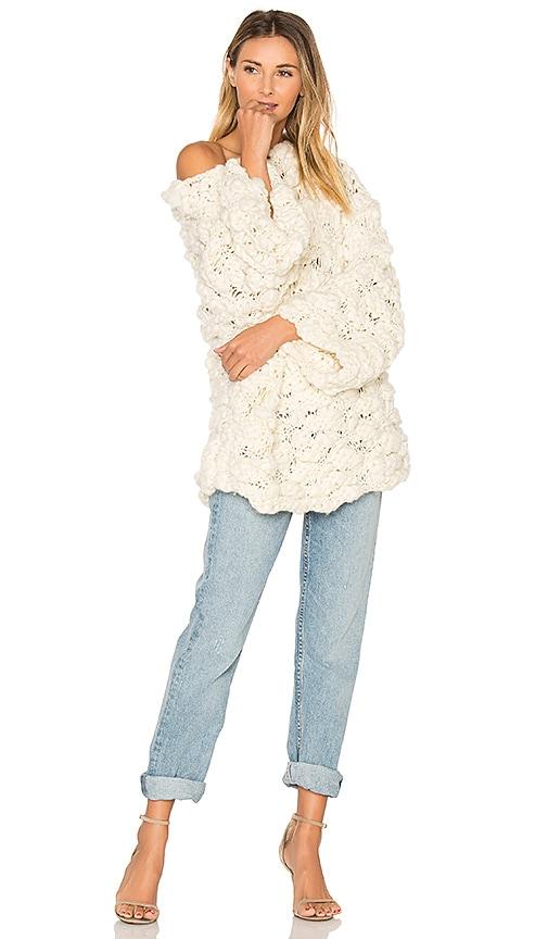 For Love & Lemons x KNITZ Mademoiselle Popover Sweater in Cream