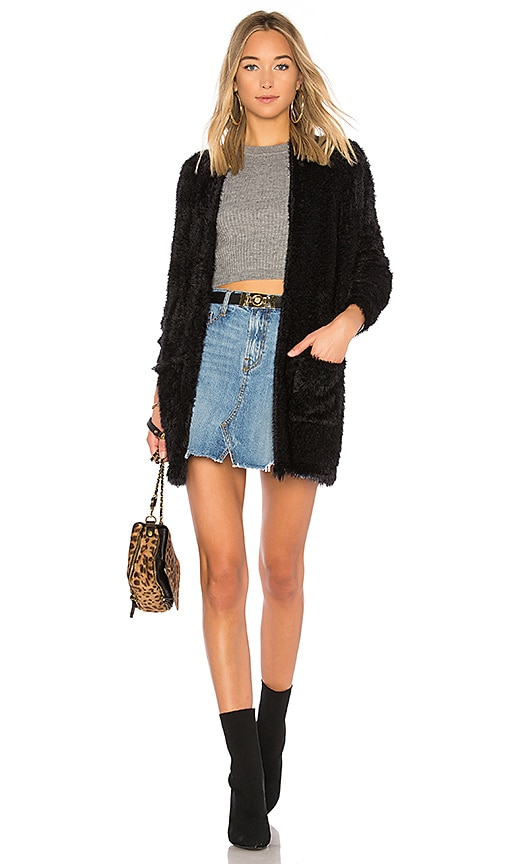 For Love & Lemons Lolo Mohair Cardigan in Black