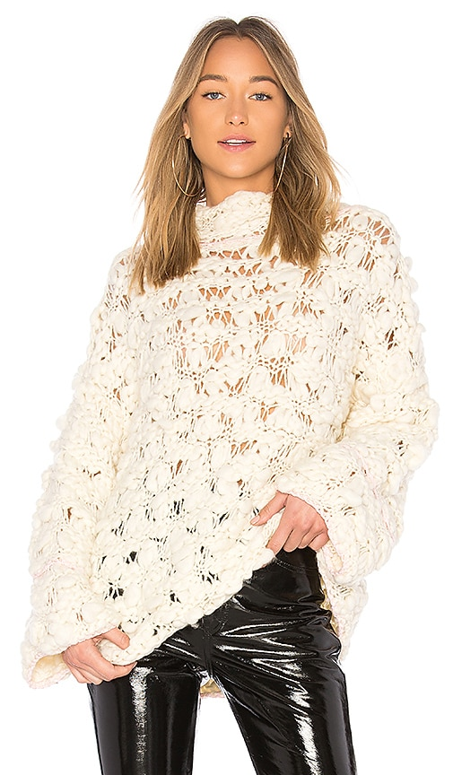 For Love & Lemons Cloudy Day Popover Sweater in Ivory