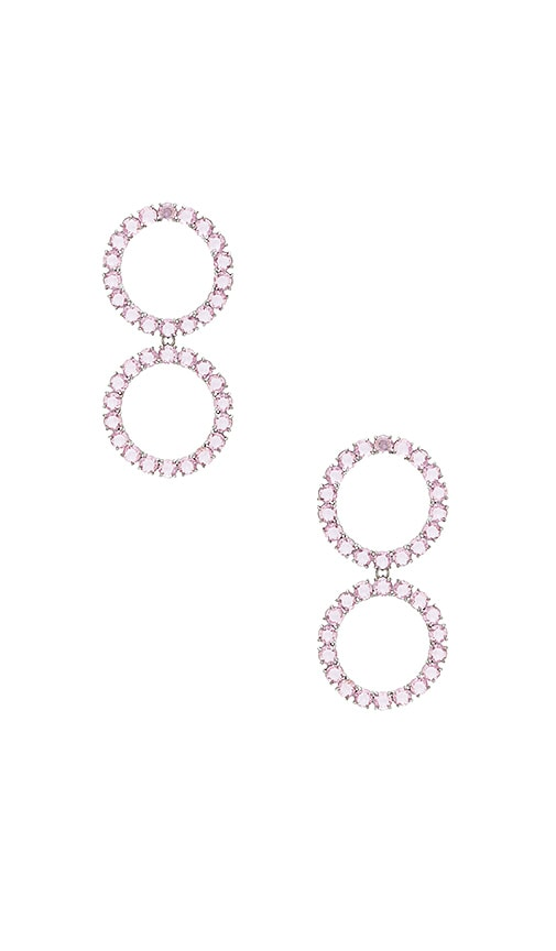 For Love & Lemons Crystal Ball Earrings in Pink