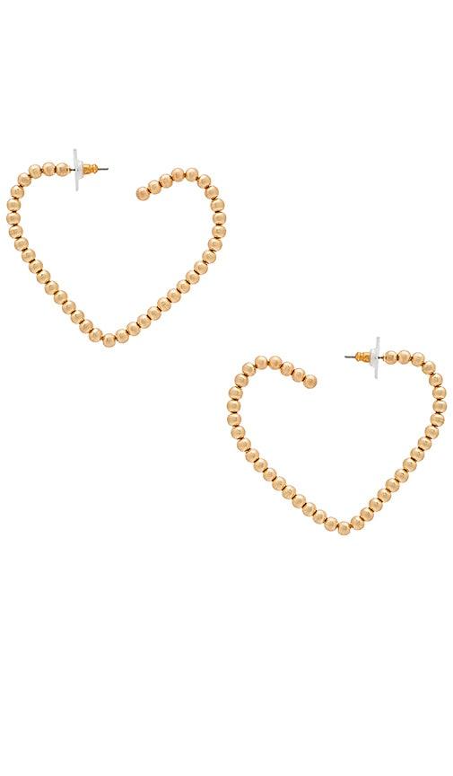 For Love & Lemons Heart Hoop Earrings in Metallic Gold