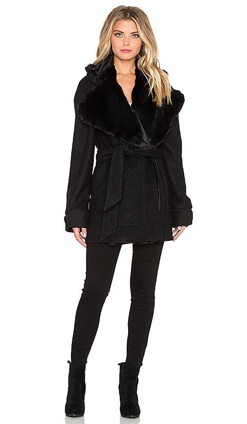 For Love & Lemons Ella Jacket with Faux Fur in Black