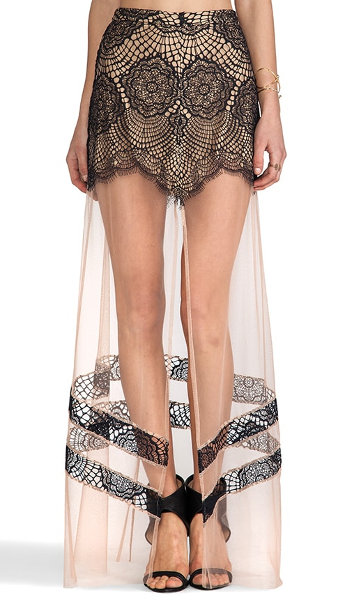 For Love & Lemons Antigua Maxi Skirt in Tan