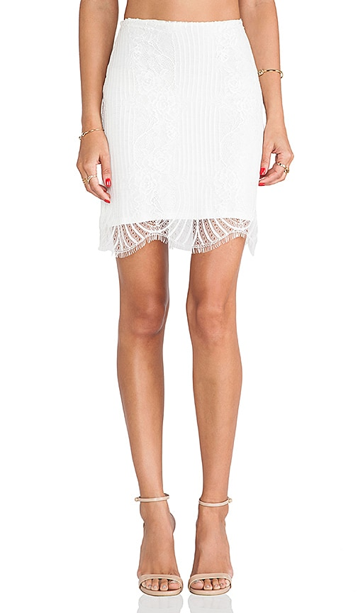 For Love & Lemons Lolo Mini Skirt in White