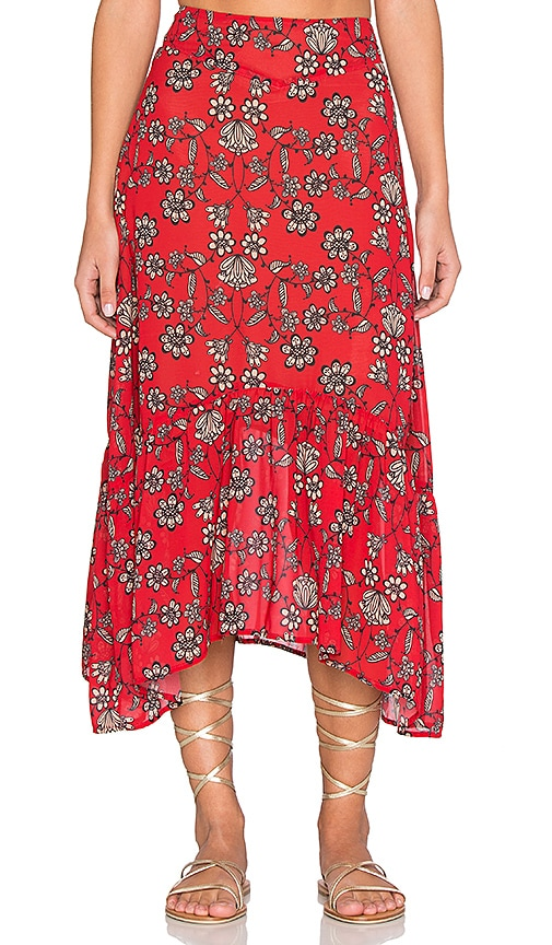 For Love & Lemons Pia Midi Skirt in Red