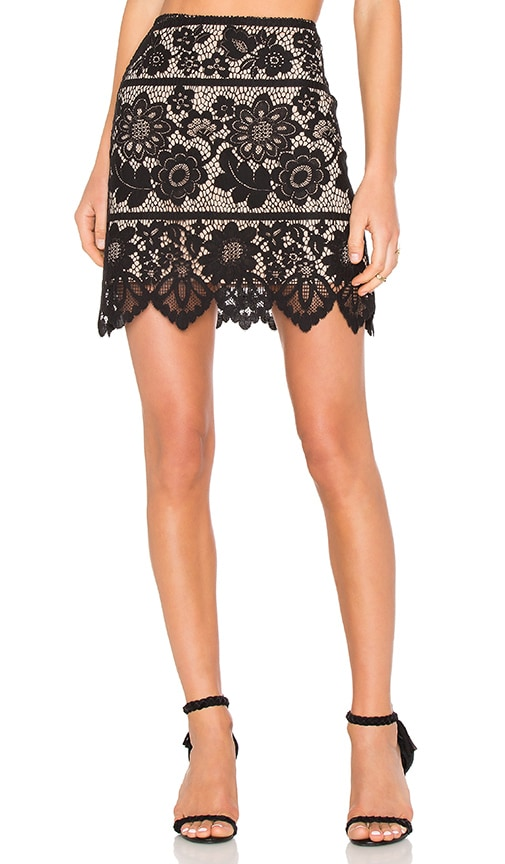 For Love & Lemons Gianna Mini Skirt in Black