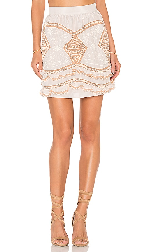 For Love & Lemons Winona Mini Skirt in Beige