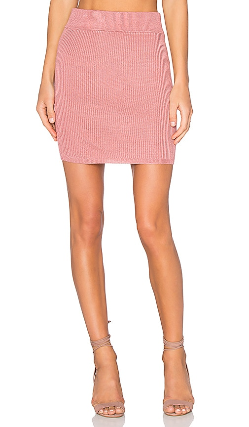 For Love & Lemons KNITZ Delancey Skirt in Pink