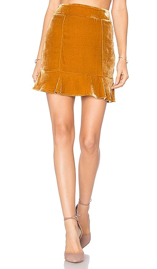 For Love & Lemons Collette Mini Skirt in Brown