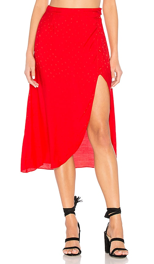 For Love & Lemons Gabriella Button Up Midi Skirt in Red