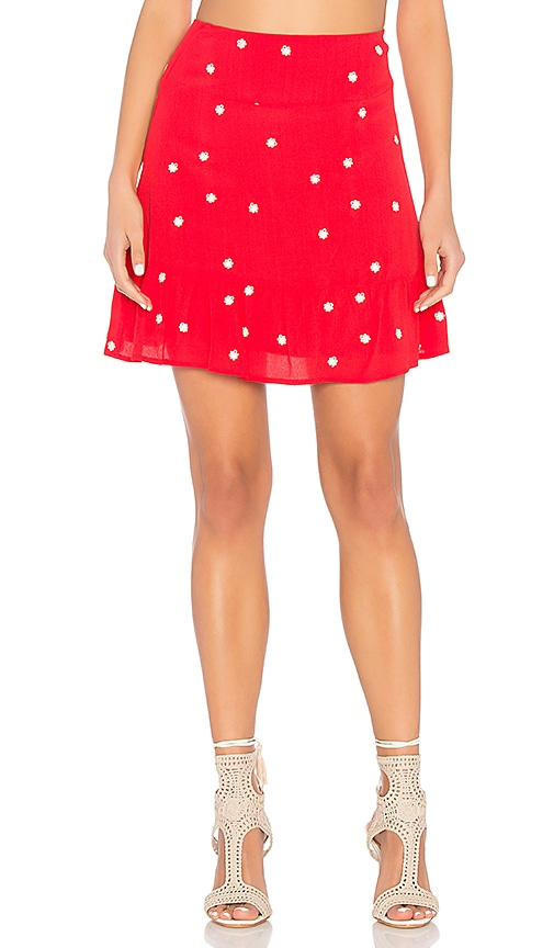 For Love & Lemons Chiquita Mini Skirt in Red