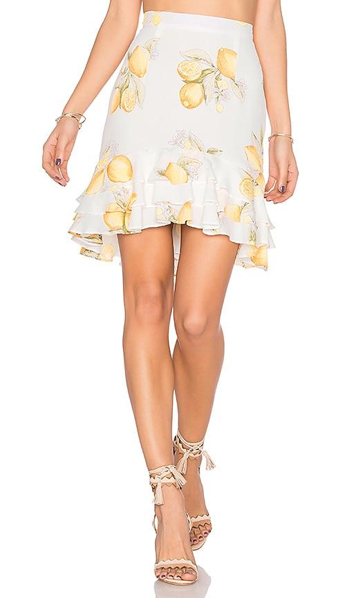 For Love & Lemons Limonada Skirt in White