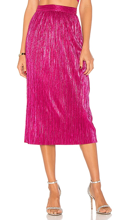 For Love & Lemons Marion Midi Skirt in Pink
