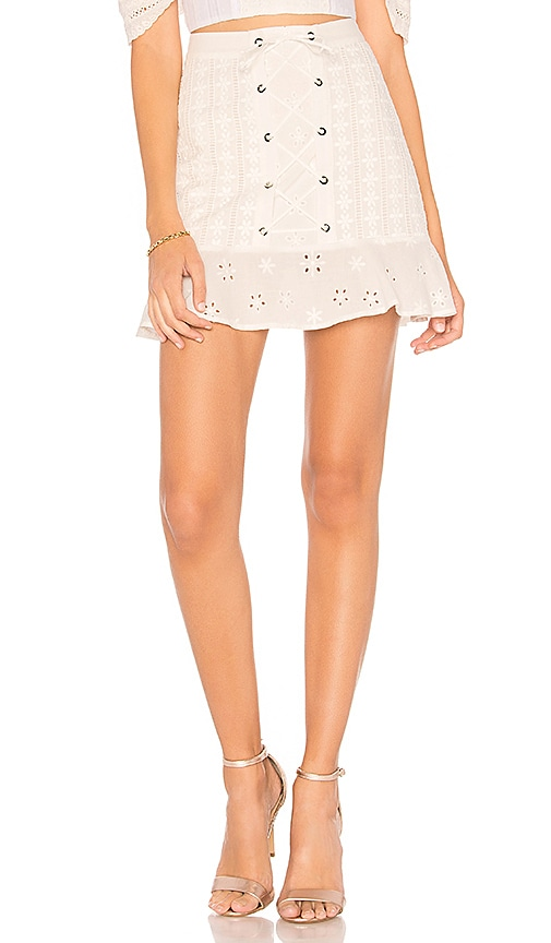 For Love & Lemons Hermosa Eyelet Mini Skirt in White