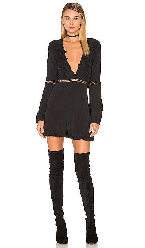 For Love & Lemons Lilou Romper in Black