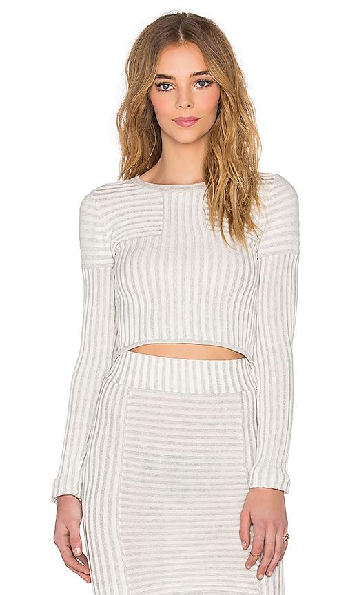 For Love & Lemons Switch Stripe Crop Top in Grey Stripe