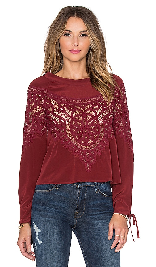 For Love & Lemons Santa Cruz Blouse in Red