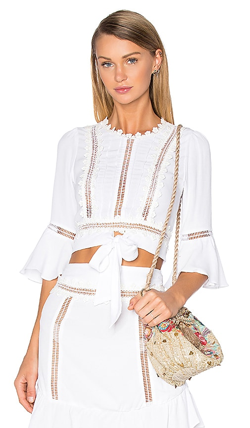For Love & Lemons Willow Crop Top in White