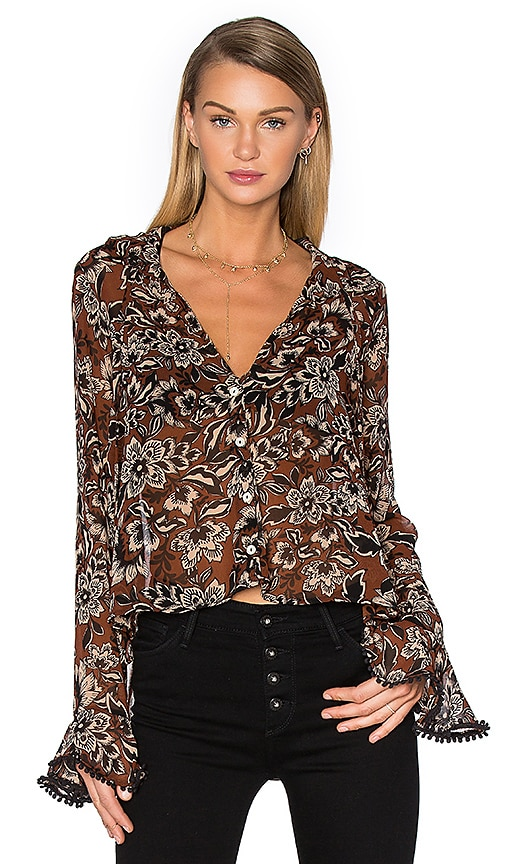 For Love & Lemons Gracie Blouse in Brown