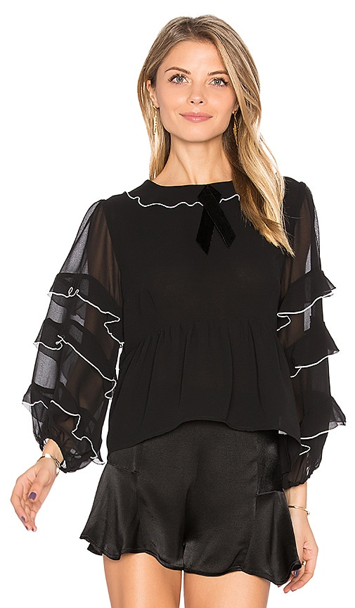 For Love & Lemons Souffle Top in Black