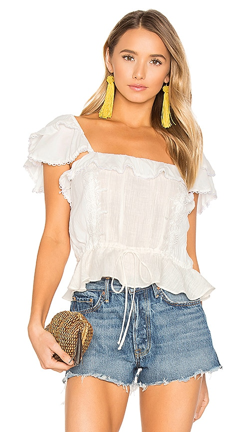 For Love & Lemons Crema Silk Blouse in White