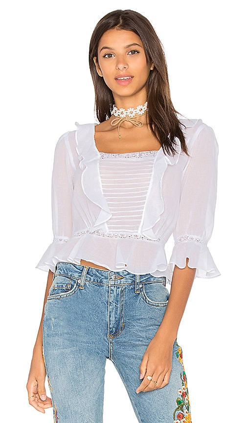 For Love & Lemons Gauze Top in White