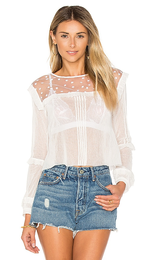 For Love & Lemons Cosmos Pintuck Blouse in White