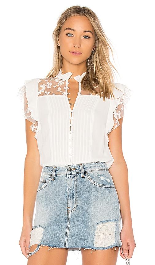For Love & Lemons Rosebud Embroidery Blouse in White
