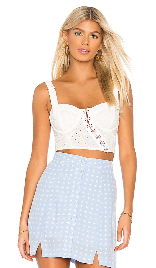 2d275fa518 For Love   Lemons Charlotte Eyelet Crop Top in White Hearts