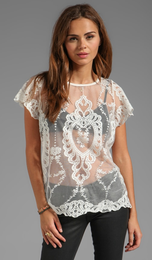Vienna Unlined Lace Short Sleeve Blouse