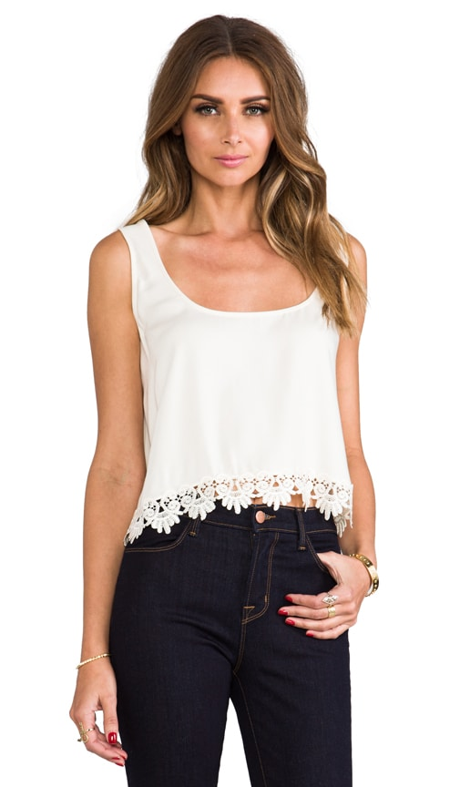 Loyal Crop Tank Top w/ Lace Trim