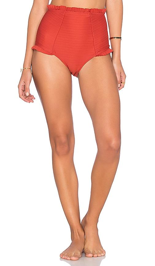 For Love & Lemons St. Lucia Hi Waisted Bikini Bottom in Red