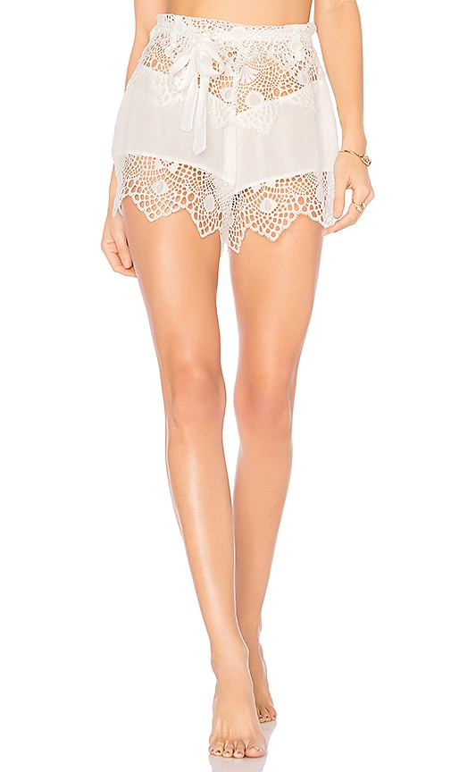For Love & Lemons Caracas Lace Shorts in White