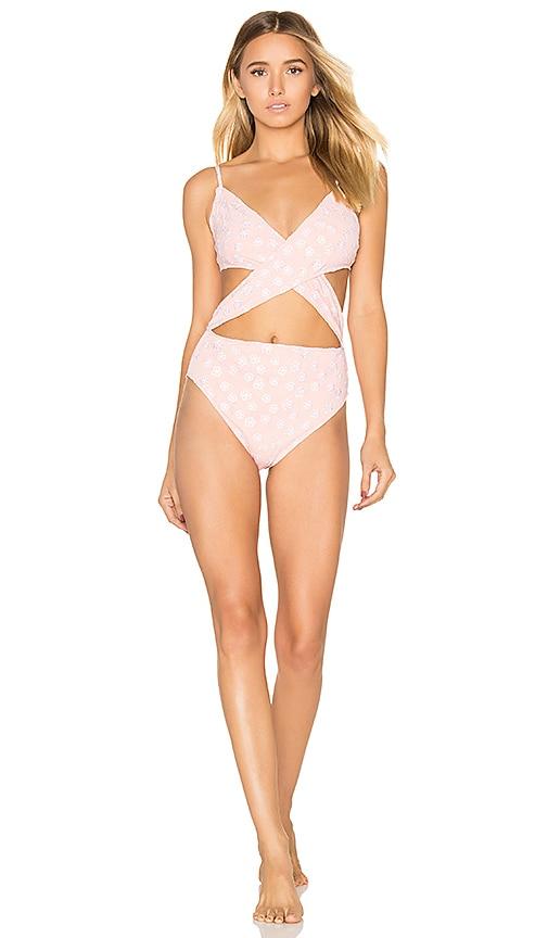 For Love & Lemons Jardine Criss Cross One Piece Swimsuit in Pink