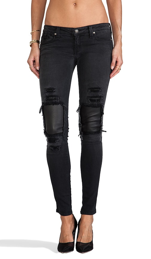Destroyed Leather Patch Jegging