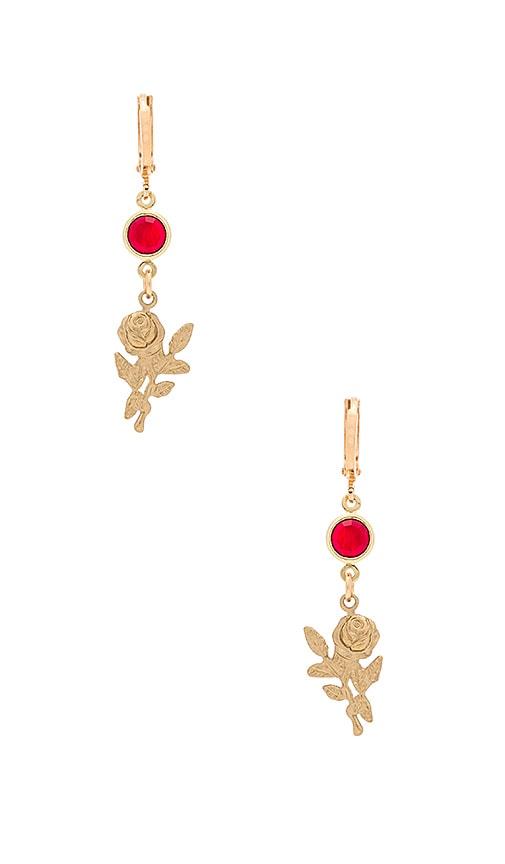 Frasier Sterling Rose Earrings in Metallic Gold
