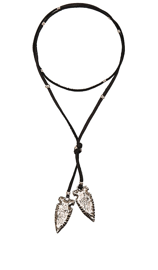 Frasier Sterling Arrowhead Leather Necklace in Black