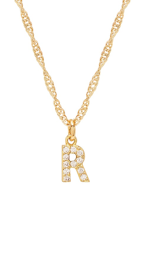 Frasier Sterling R Initial Necklace in Gold
