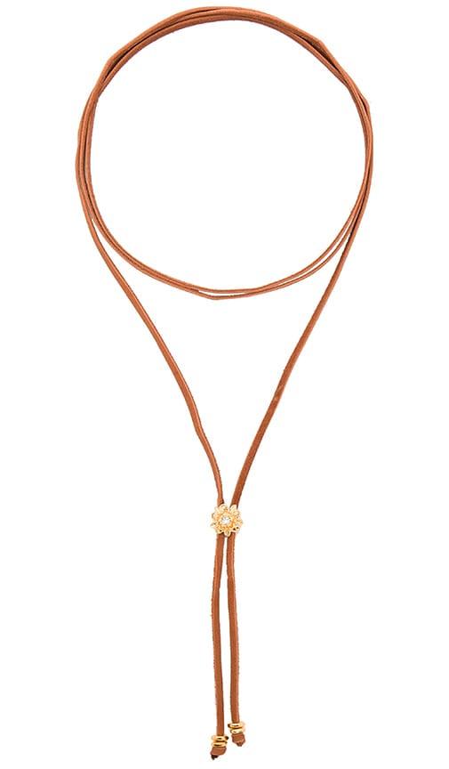 Frasier Sterling Rosebud Bolo Wrap Necklace in Cognac