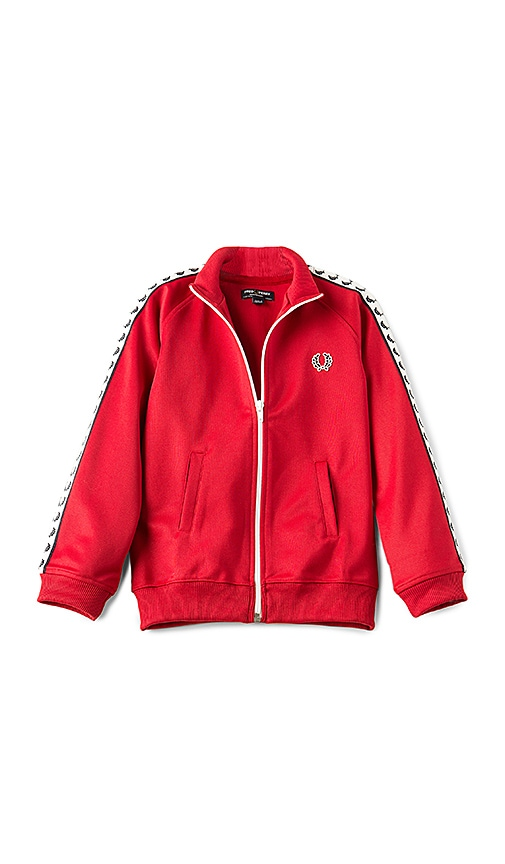Fred Perry Laurel Wreath Taped Track Jacket in Red