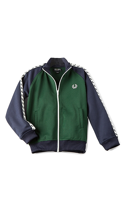 Fred Perry Laurel Wreath Colour Block Track Jacket in Green