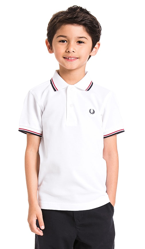 Fred Perry Twin Tipped Polo in White & Bright Red & Navy