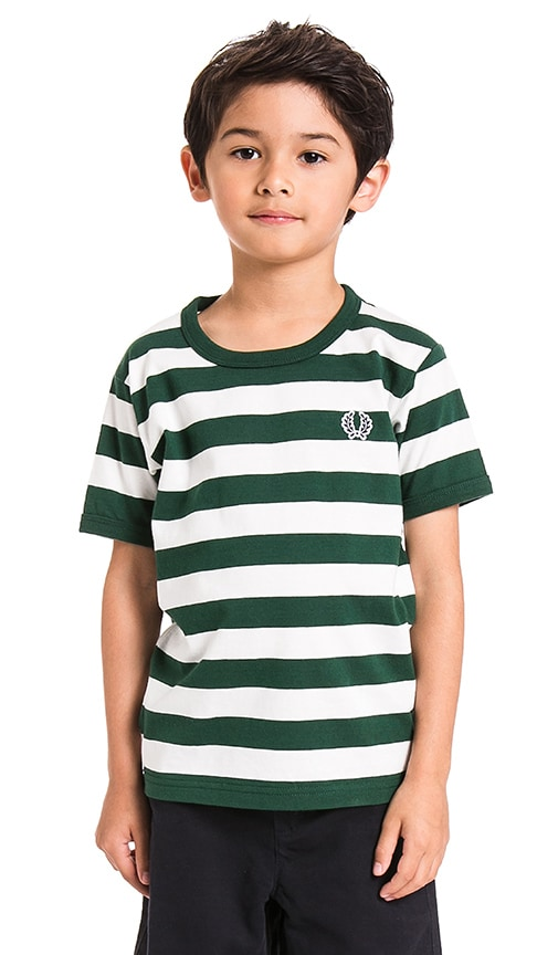 Fred Perry Striped Ringer Tee in Ivy