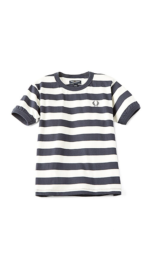Fred Perry Striped Ringer Tee in Navy
