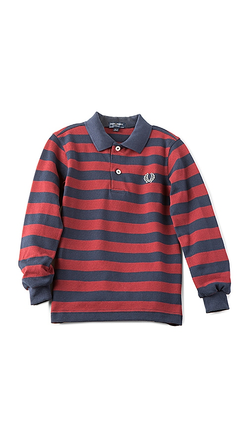 Fred Perry Striped Pique Shirt in Navy
