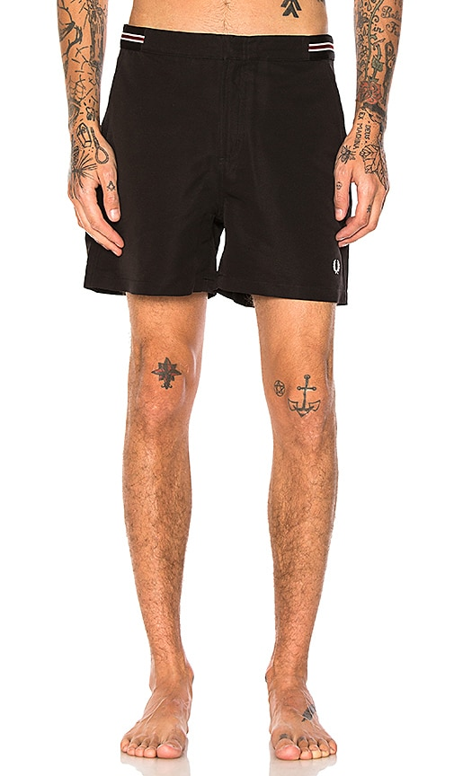 Fred Perry Bomber Tape Swim Shorts in Black