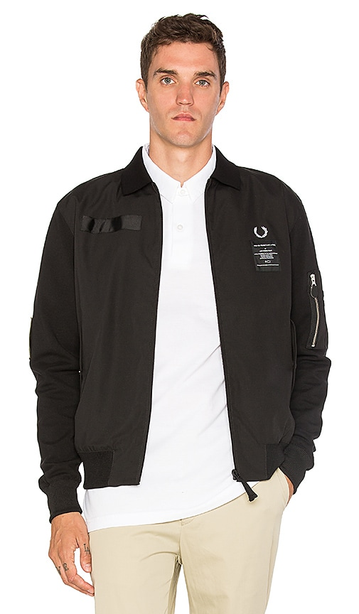 Fred Perry x Art Comes First Contrast Sleeve Harrington Jacket in Black