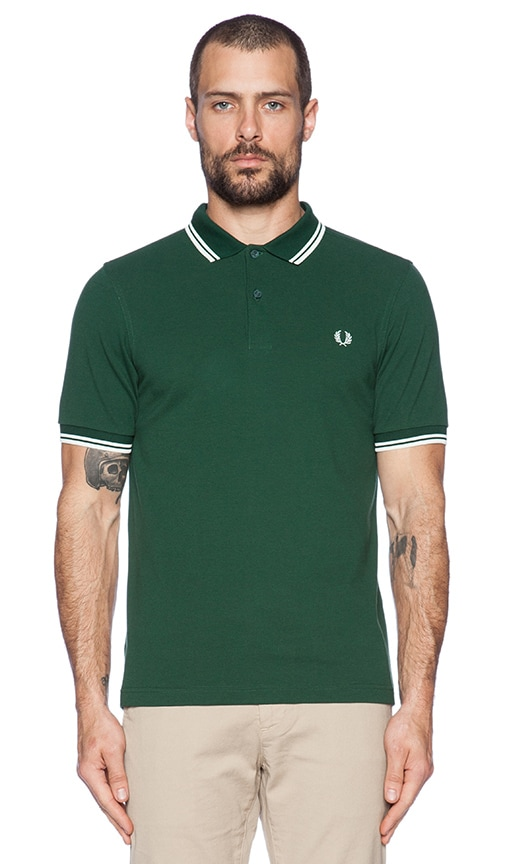 e7774b0c0 Fred Perry Twin Tipped Polo in Ivy Snow White